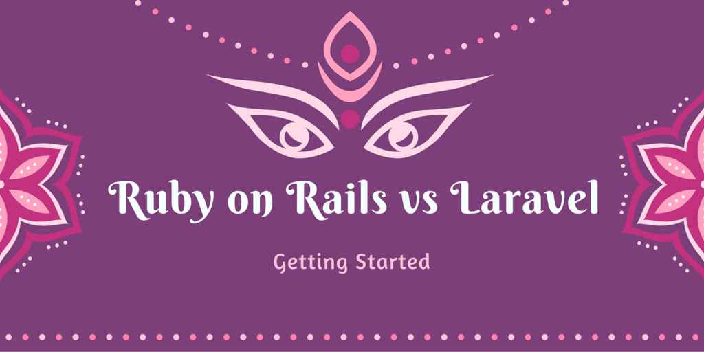 Ruby on Rails Laravel Getting Started on Purple and Pink Background