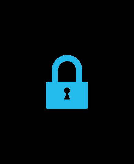 Blue Key Lock Inside Black Shield