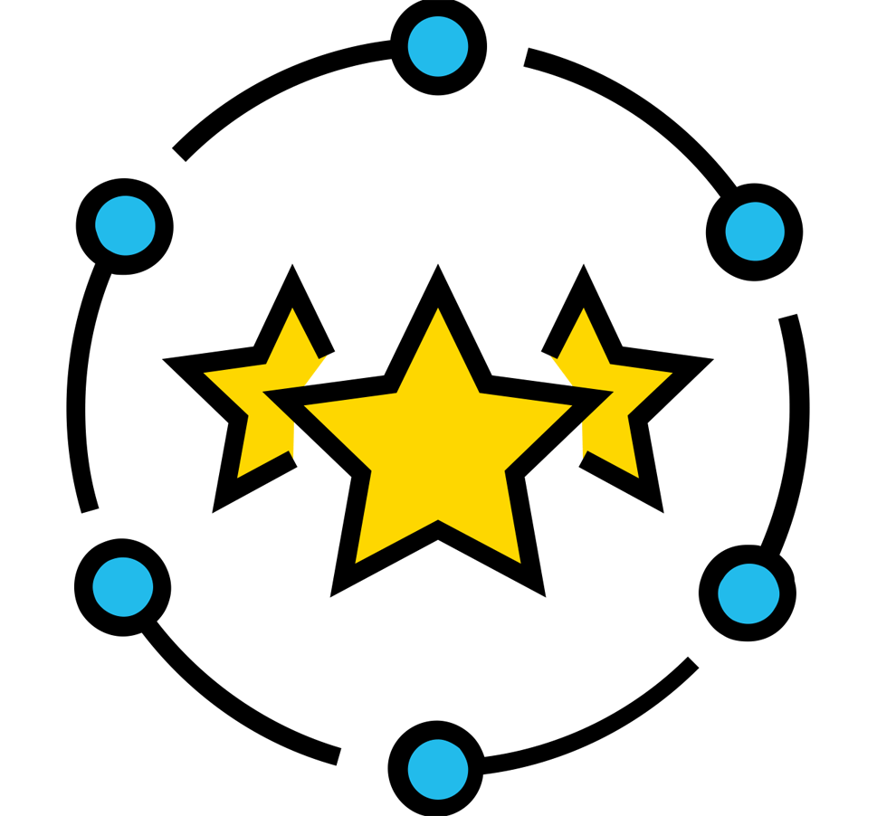 Three Yellow Stars Surrounded by Circle Made of Lines and Blue Dots