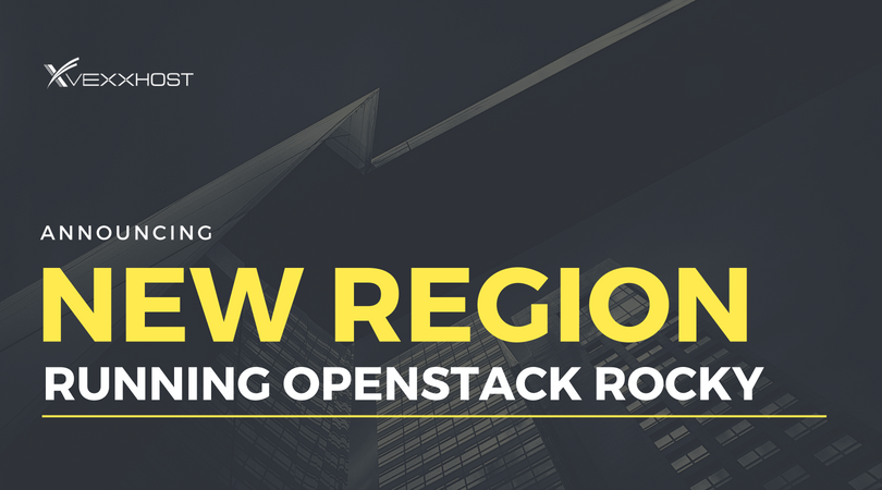 New region running OpenStack Rocky over city landscape background